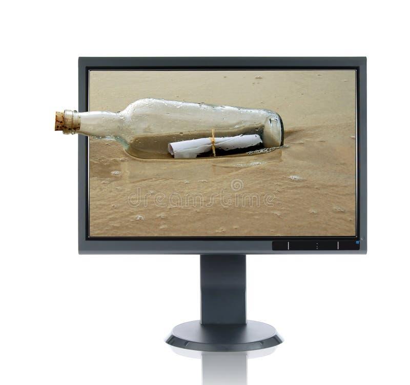 Monitor y mensaje del LCD en un B imagen de archivo libre de regalías