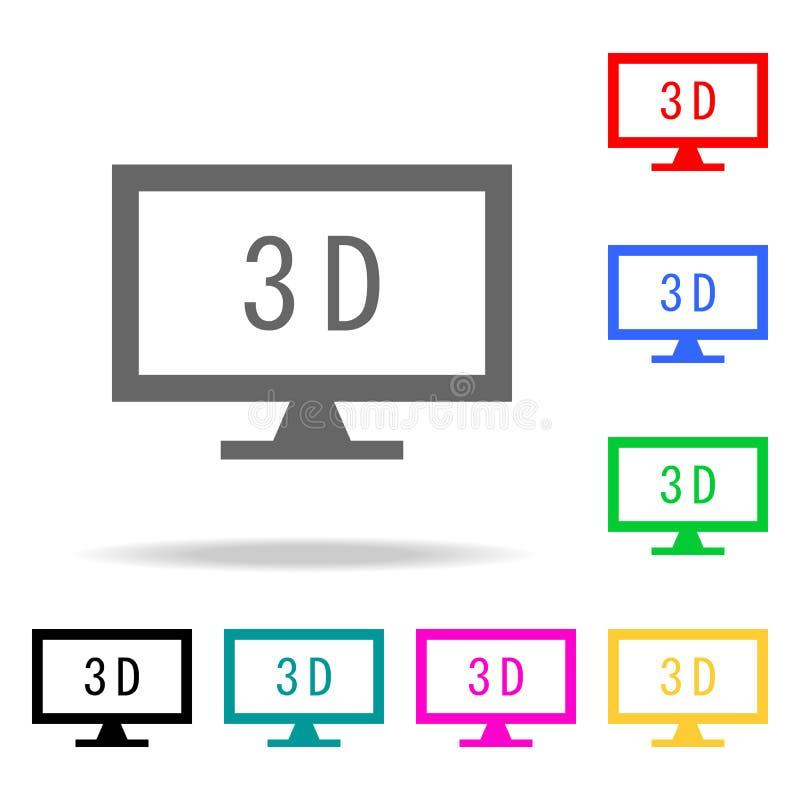 monitor z 3d ikonami Elementy ludzkiej sieci barwione ikony Premii ilości graficznego projekta ikona Prosta ikona dla stron inter ilustracja wektor