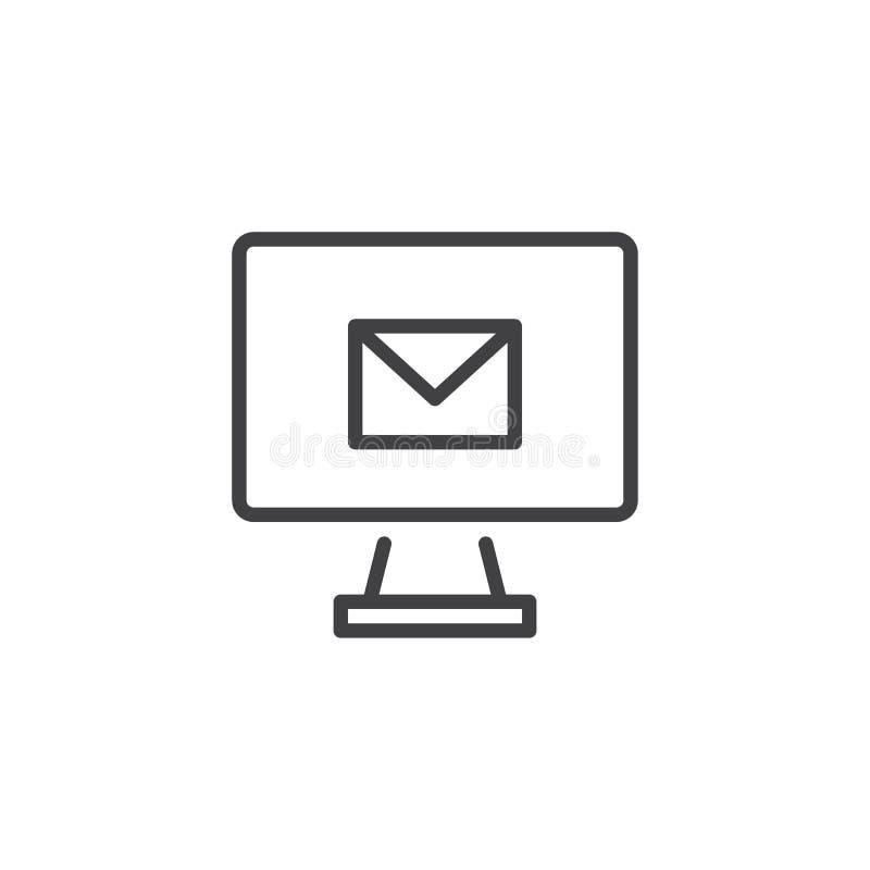 Monitor z email linii ikoną ilustracja wektor