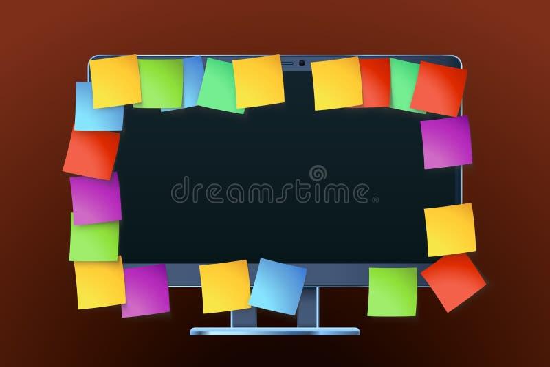 Monitor z papierem ilustracja wektor