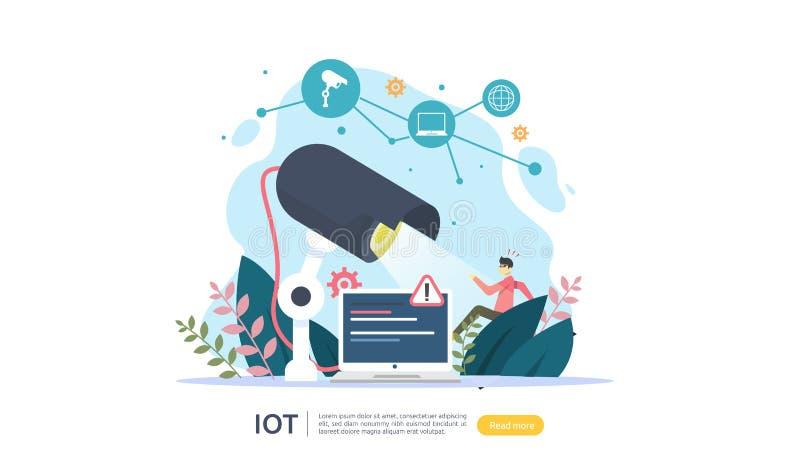 Monitoração da câmara de segurança do CCTV ladrão chocado detectado Internet de IOT do conceito esperto da casa das coisas para 4 ilustração do vetor