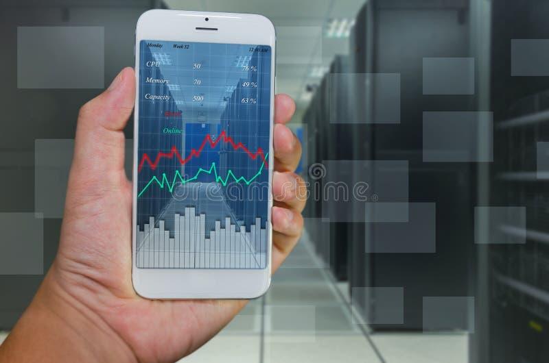 Monitoração de sistema pelo telefone esperto imagens de stock royalty free