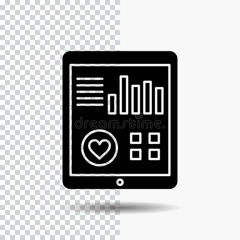 monitoração, saúde, coração, pulso, ícone paciente do Glyph do relatório no fundo transparente ?cone preto ilustração do vetor