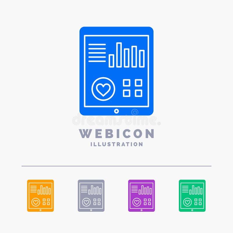 monitoração, saúde, coração, pulso, molde paciente do ícone da Web do Glyph da cor do relatório 5 isolado no branco Ilustra??o do ilustração stock