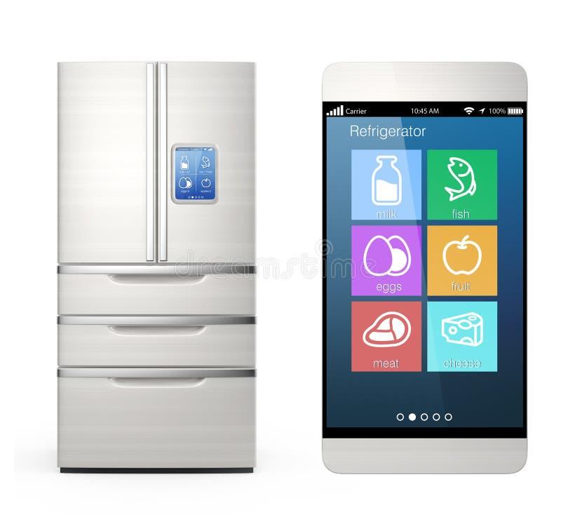 Monitoraggio astuto del frigorifero dal concetto dello Smart Phone immagini stock