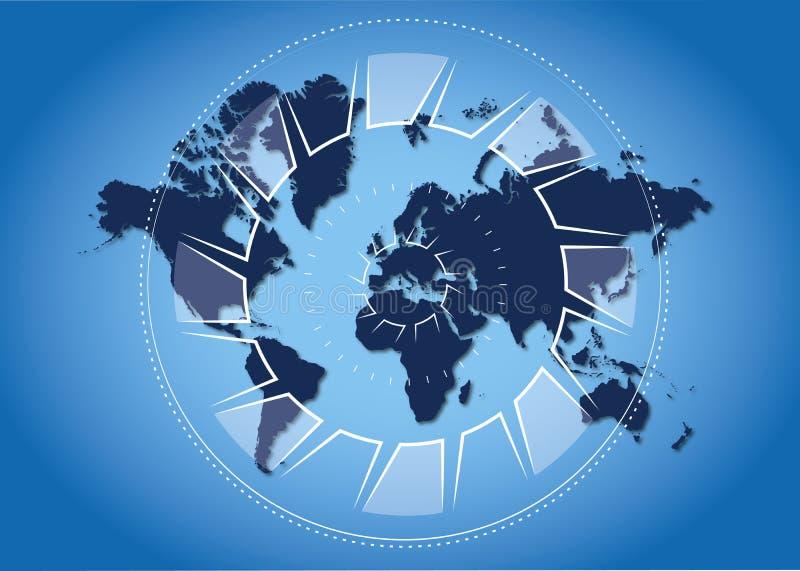 Monitorando o mundo ilustração do vetor