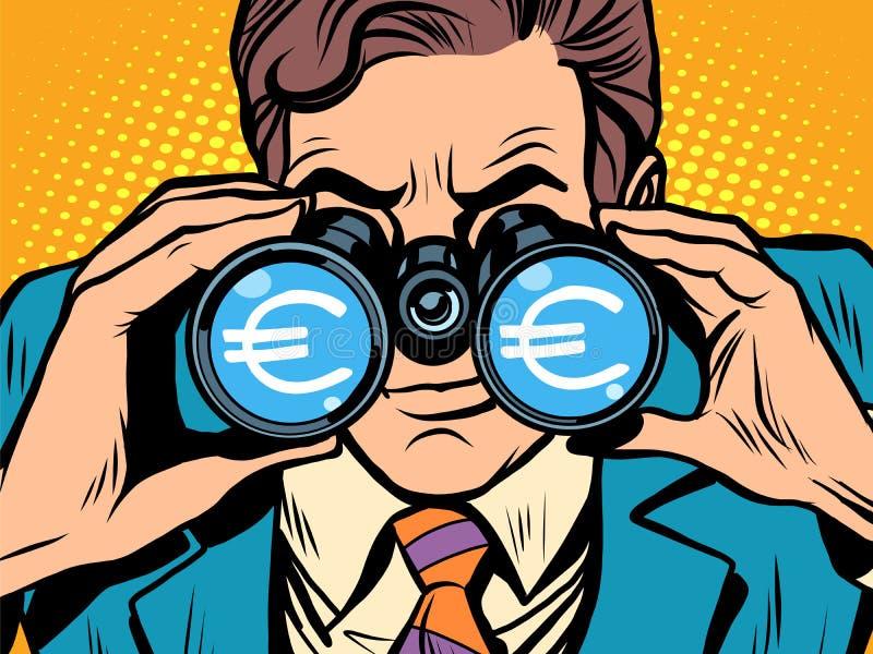 Monitorando a taxa de câmbio do Euro da moeda ilustração do vetor