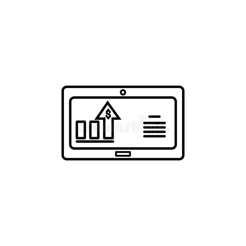 Monitore o ícone do dólar da carta Elemento do ícone popular da finança Projeto gráfico da qualidade superior Sinais, ícone da co ilustração royalty free