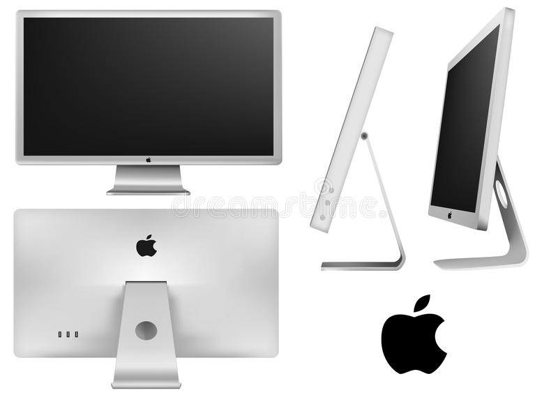 Monitore o indicador conduzido maçã do cinema ilustração do vetor