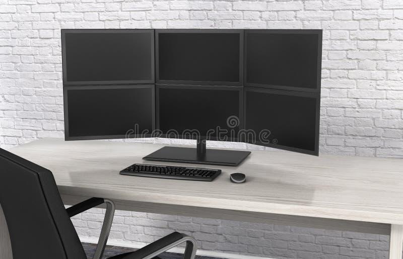 Monitoren auf dem Tisch, stock abbildung
