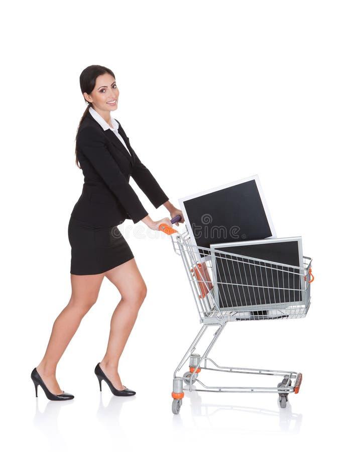 Monitores de compra do Lcd da mulher de negócios atrativa imagem de stock royalty free