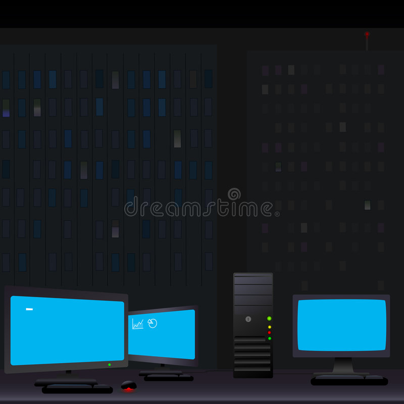 Monitores de la PC que brillan intensamente en la noche stock de ilustración