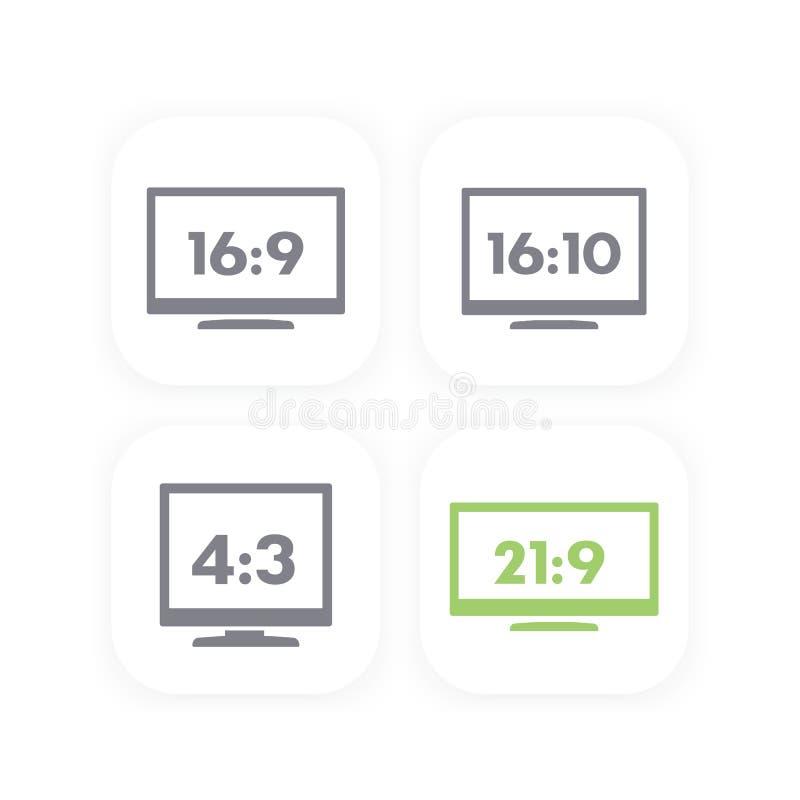 Monitores de la relación de aspecto, con pantalla grande y usuales ilustración del vector