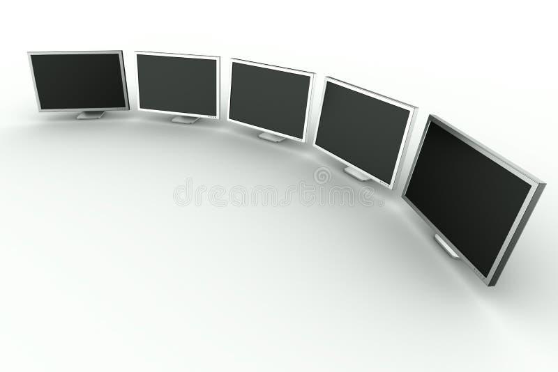 Monitores múltiplos ilustração stock