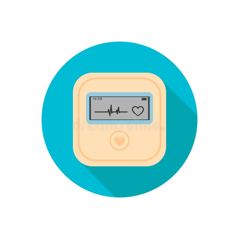 Daily monitoring of ECG. Holter for daily use. The device monitors the bleeding of the heart. And can prevent a heart attack. stock illustration