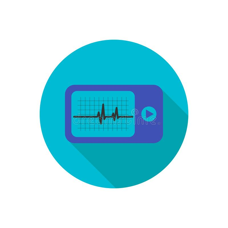 Daily monitoring of ECG. Holter for daily use. The device monitors the bleeding of the heart. And can prevent a heart attack. vector illustration