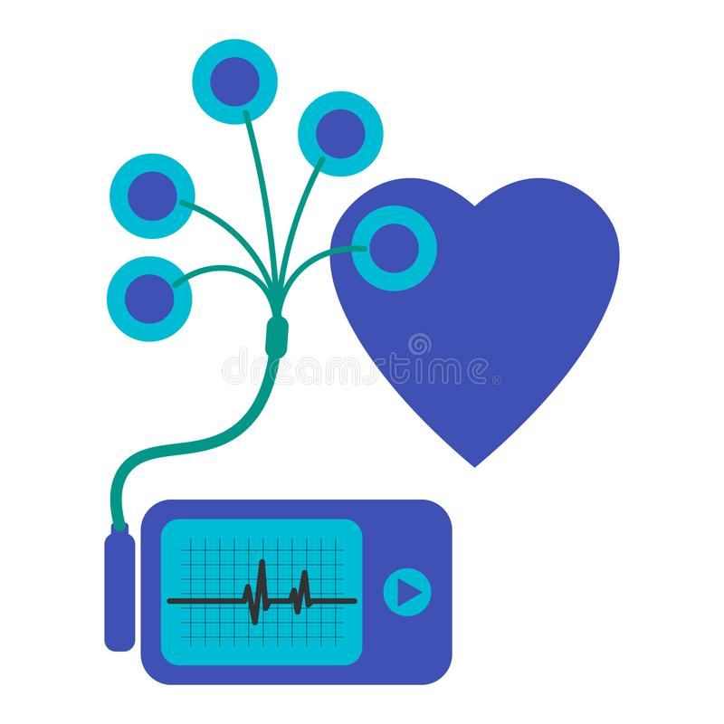 Daily monitoring of ECG. Holter for daily use. The device monitors the bleeding of the heart. And can prevent a heart attack stock illustration