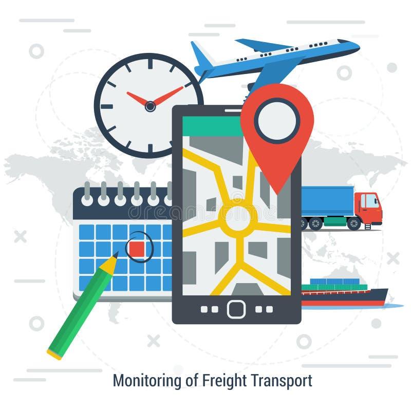 monitoring of freight transport concept stock illustration illustration of internet screen. Black Bedroom Furniture Sets. Home Design Ideas