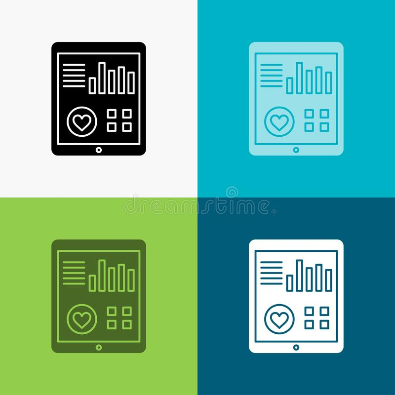 monitoring, health, heart, pulse, Patient Report Icon Over Various Background. glyph style design, designed for web and app. Eps royalty free illustration