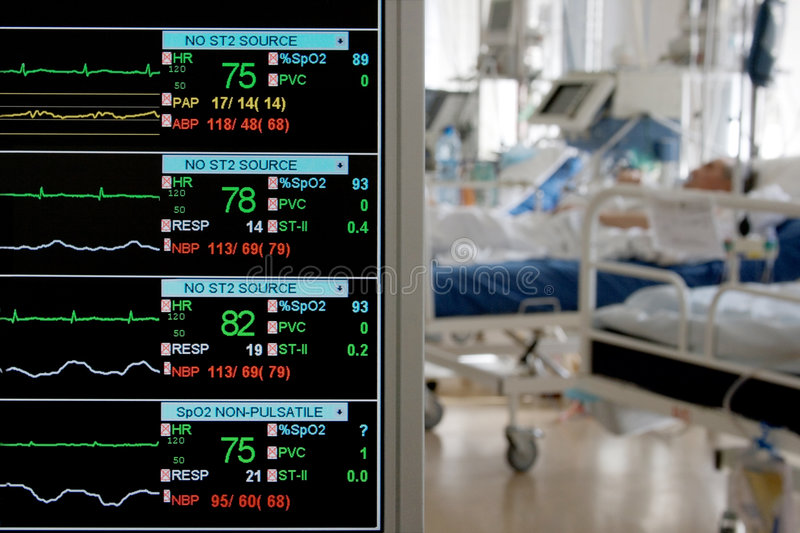 Monitoring in ICU. With patients