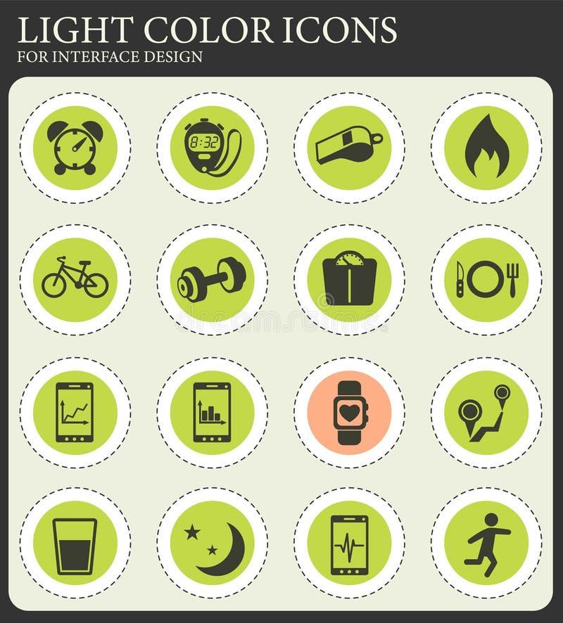 Monitorowanie apps ikony set ilustracji