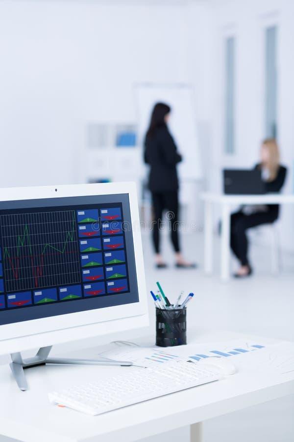 Monitorowanie company& x27; s kopyto_szewski month& x27; s dochody obraz stock