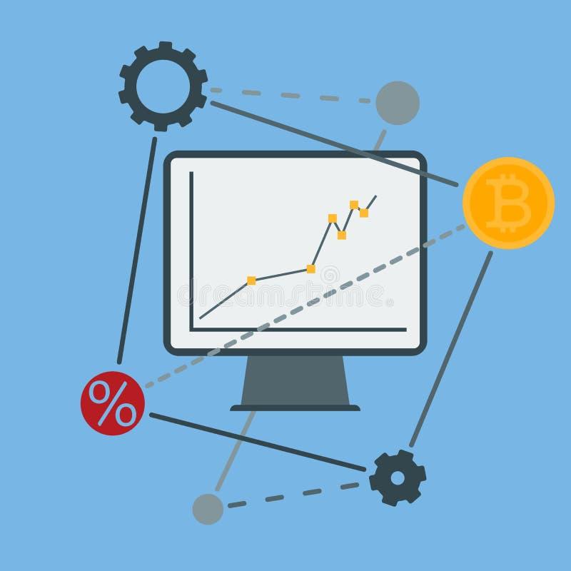 Monitorpictogram met een grafiek van de financiële groei stock illustratie