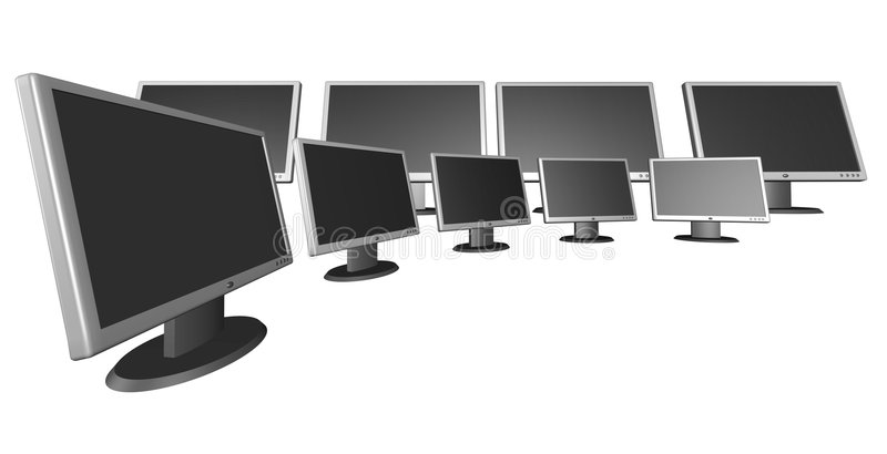 Monitors. Flat monitors - 3d render vector illustration