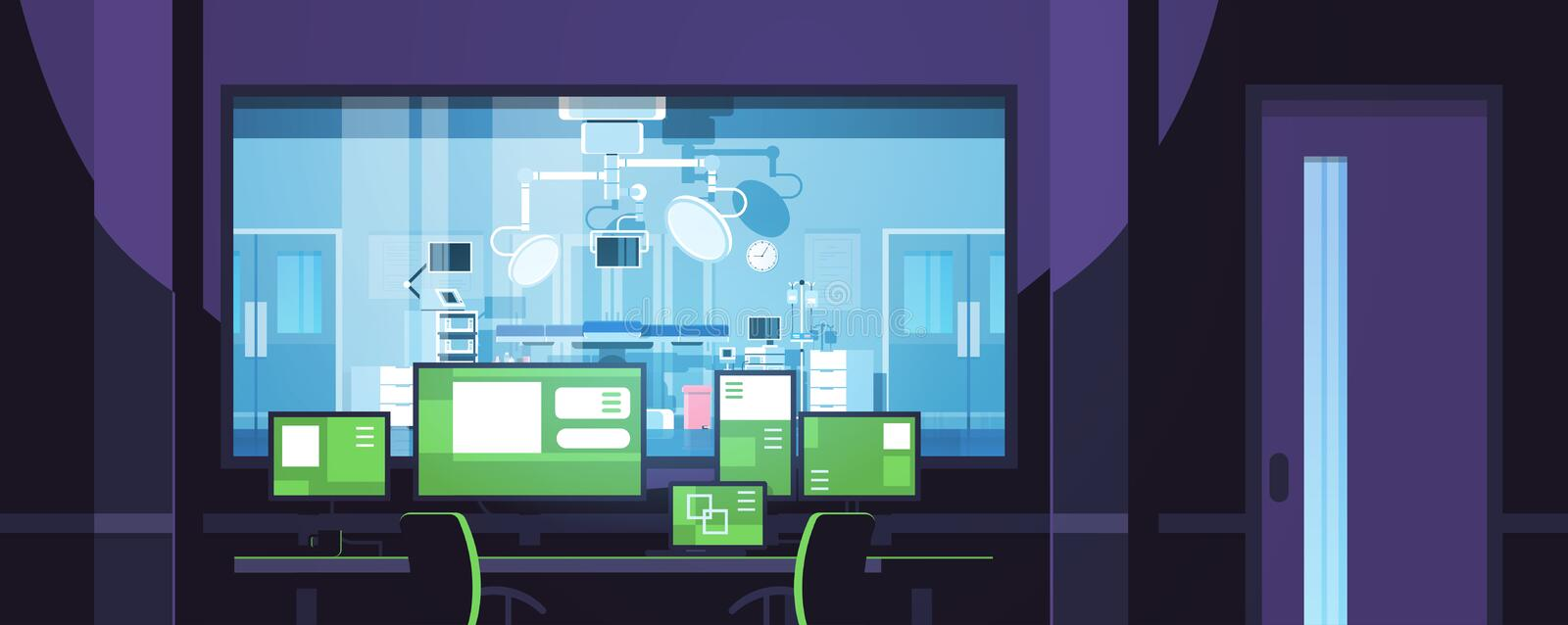 Monitors displaying medical information control center office behind glass window hospital operating table surgery room. Surveillance security system flat royalty free illustration