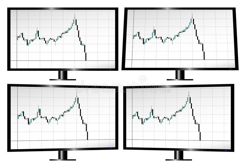 Monitors displaying stock market crash with candlesticks. Monitors in different angles displaying stock market crash with candlesticks royalty free illustration
