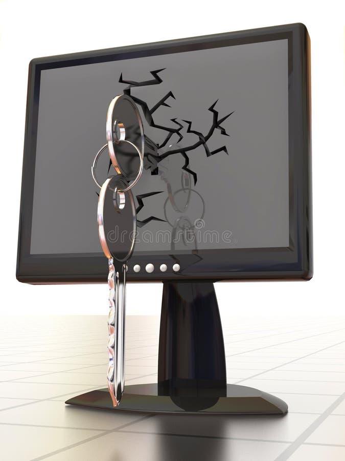 Monitors met sleutels royalty-vrije illustratie