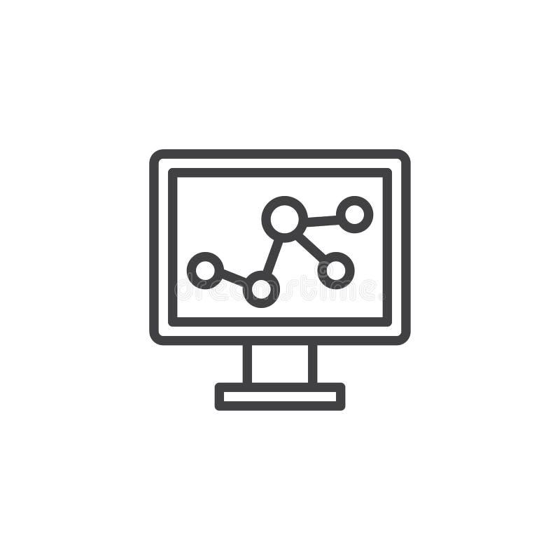 Monitoru ekran z cząsteczkowej struktury konturu ikoną ilustracja wektor