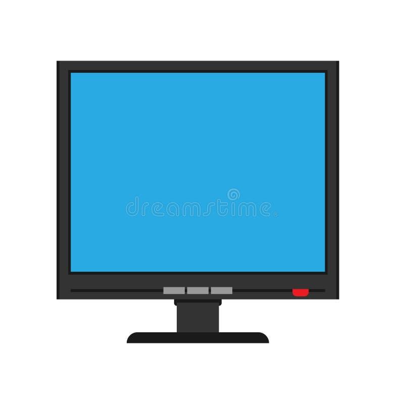 Monitoru ekranu frontowego widoku pokazu wektoru ikona Nad komputerowy elektroniczny odosobniony biel Płaski peceta przyrządu wyp ilustracji