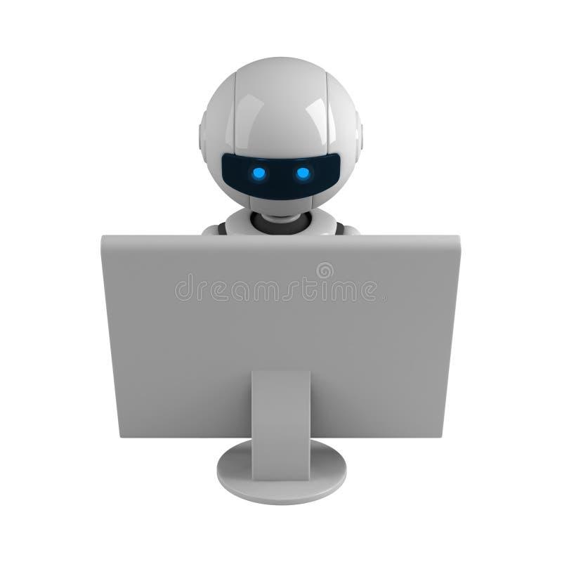 monitoru robot siedzi biel ilustracja wektor