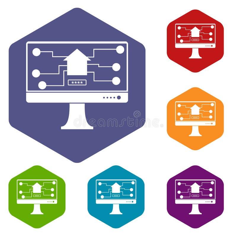 Monitoru układu scalonego ikony ustawiają sześciokąt ilustracji