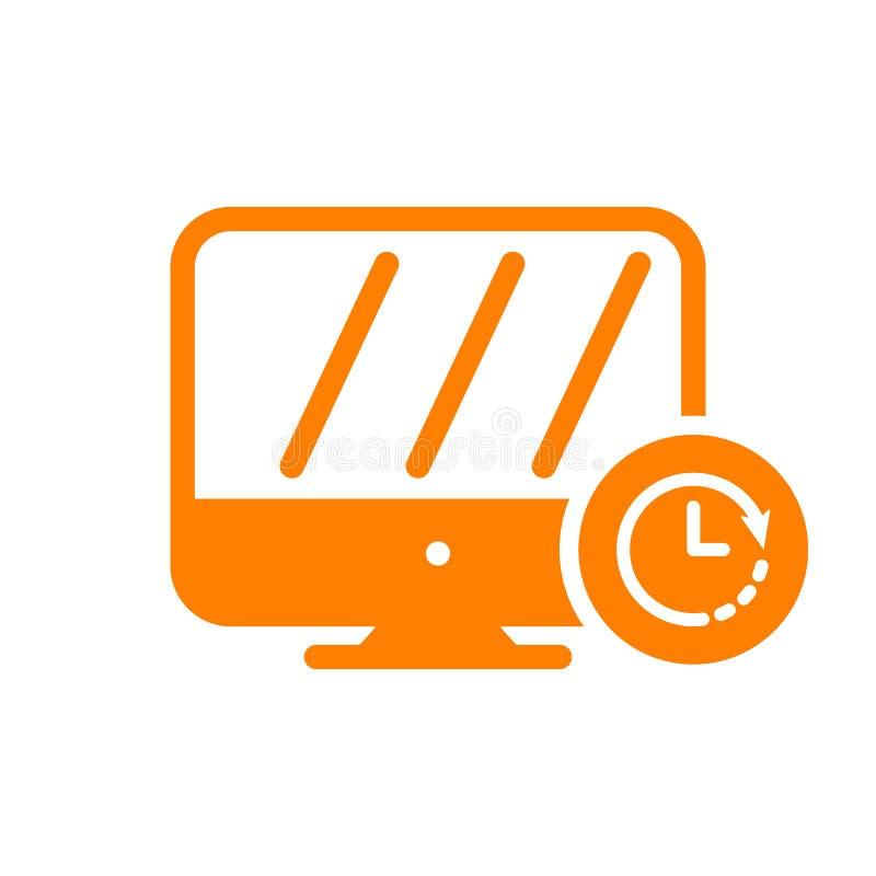 Monitoruje ikonę, technologii ikona z zegaru znakiem Monitoruje ikonę i odliczanie, ostateczny termin, rozkład, planistyczny symb ilustracji