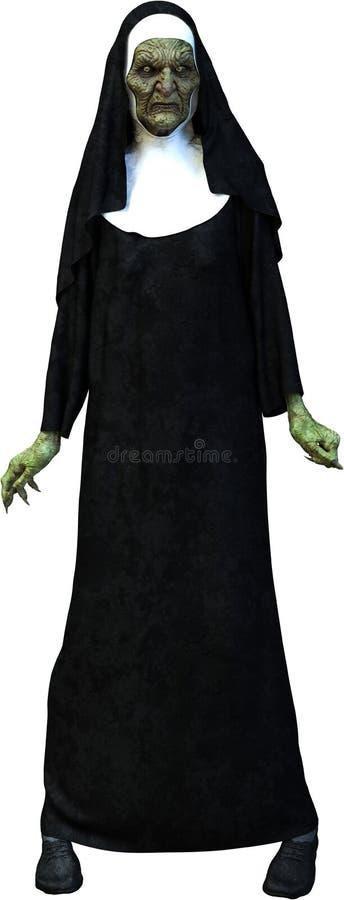 Monja asustadiza Isolated del zombi de Halloween ilustración del vector
