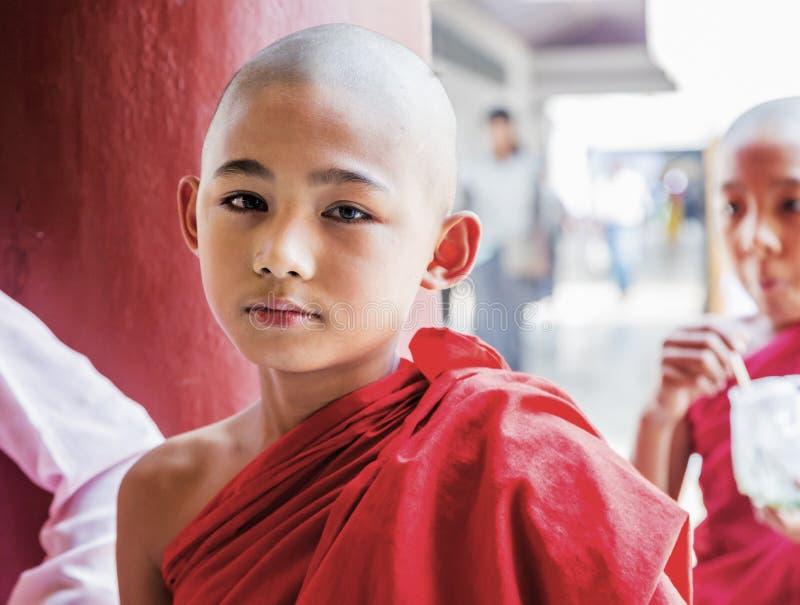 Monje budista de Myanmar en Shwezigon Paya, Bagan, Myanmar foto de archivo libre de regalías