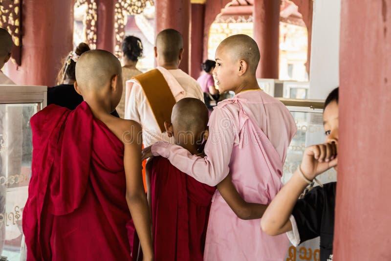 Monje budista de Myanmar en Shwezigon Paya, Bagan, Myanmar imagenes de archivo