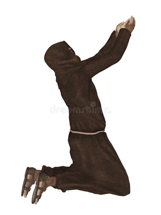Monje cristiano, rogando a dios 3d ilustración del vector