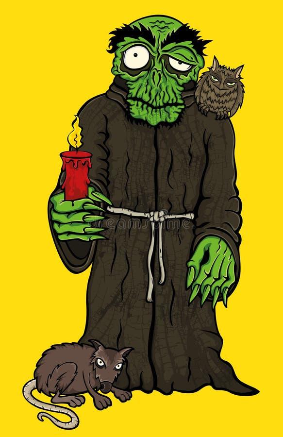 Monje del horror de Halloween en traje con el búho y la rata imagen de archivo libre de regalías