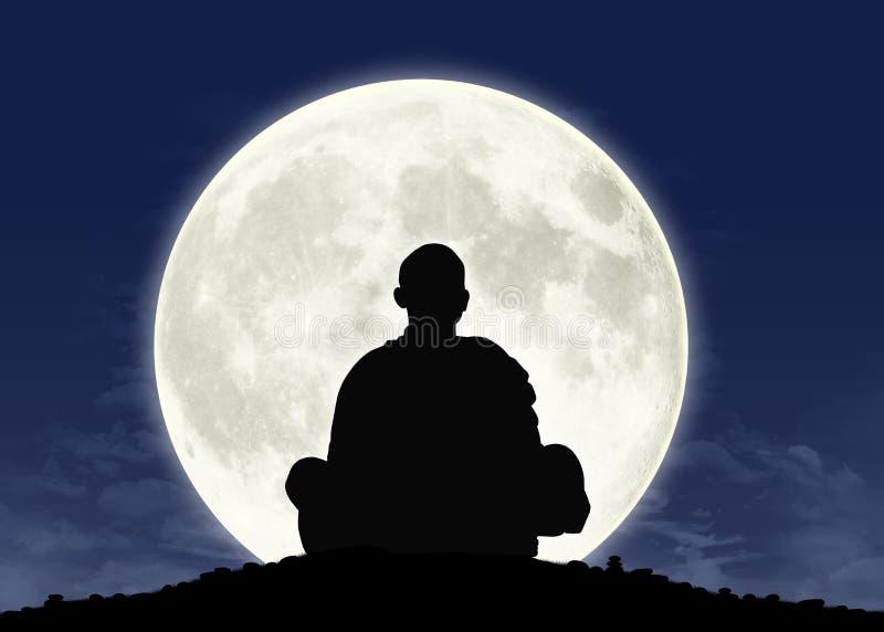 Monje en la meditación en la Luna Llena ilustración del vector