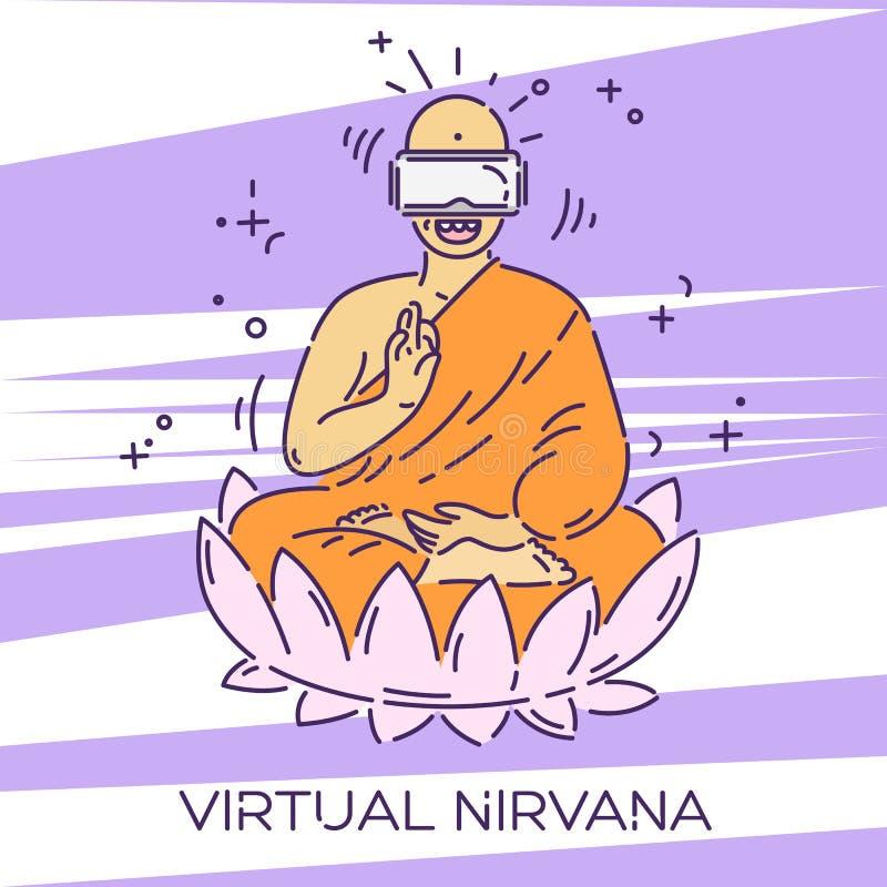Monje en vidrios de la realidad virtual Concepto de la publicidad de las auriculares de VR Nirvana virtual Línea de puntos ejempl ilustración del vector