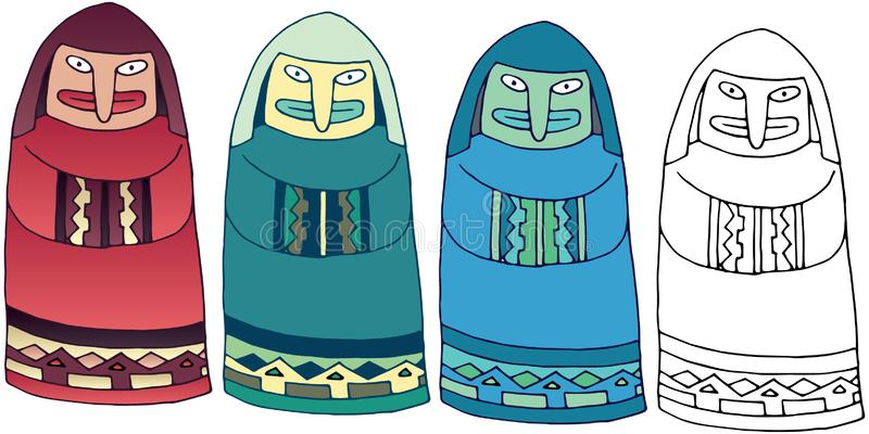 Monje exhausto de color del monstruo de la estatua del garabato de la historieta de la mano misteriosa del sistema ilustración del vector