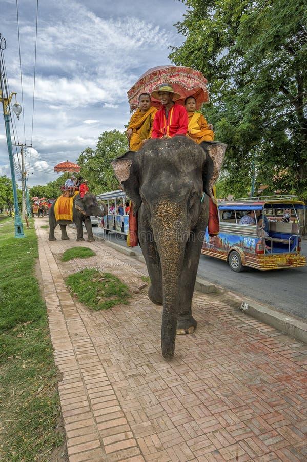 Monjes budistas en un elefante fotografía de archivo