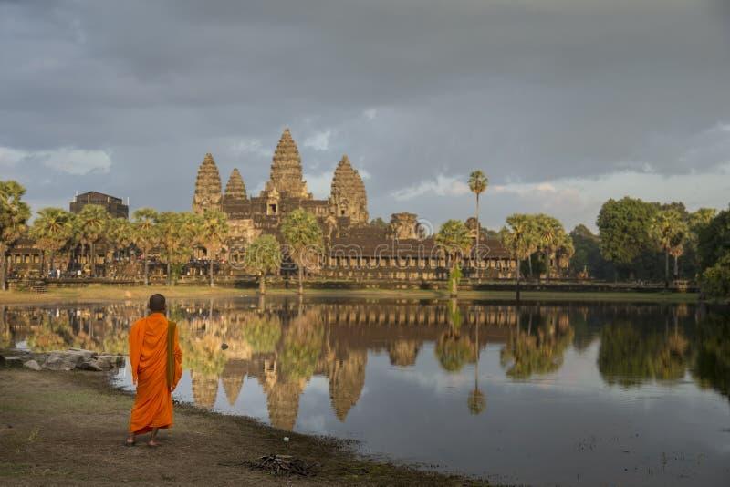 Monk all'angkor wat immagini stock libere da diritti