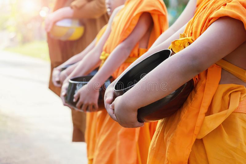 The monk alms round in. The morning royalty free stock photography