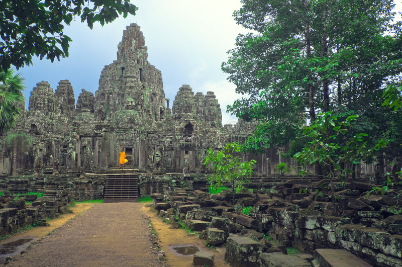 Monk at Angkor Wat stock images
