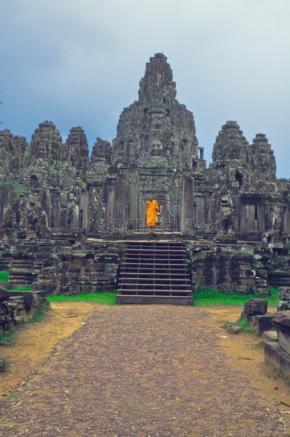 Monk at Angkor Wat royalty free stock image
