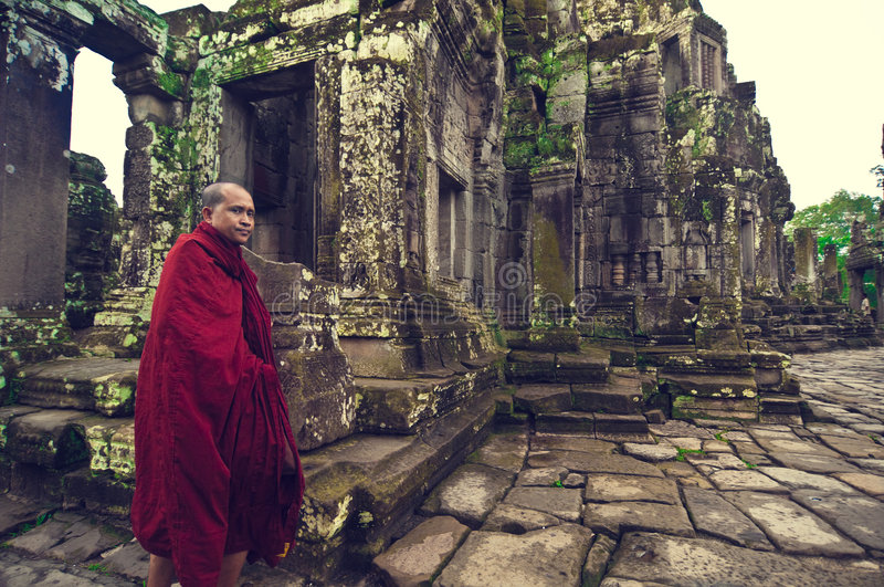 Monk at Angkor Wat (Bayon Temple) stock photo